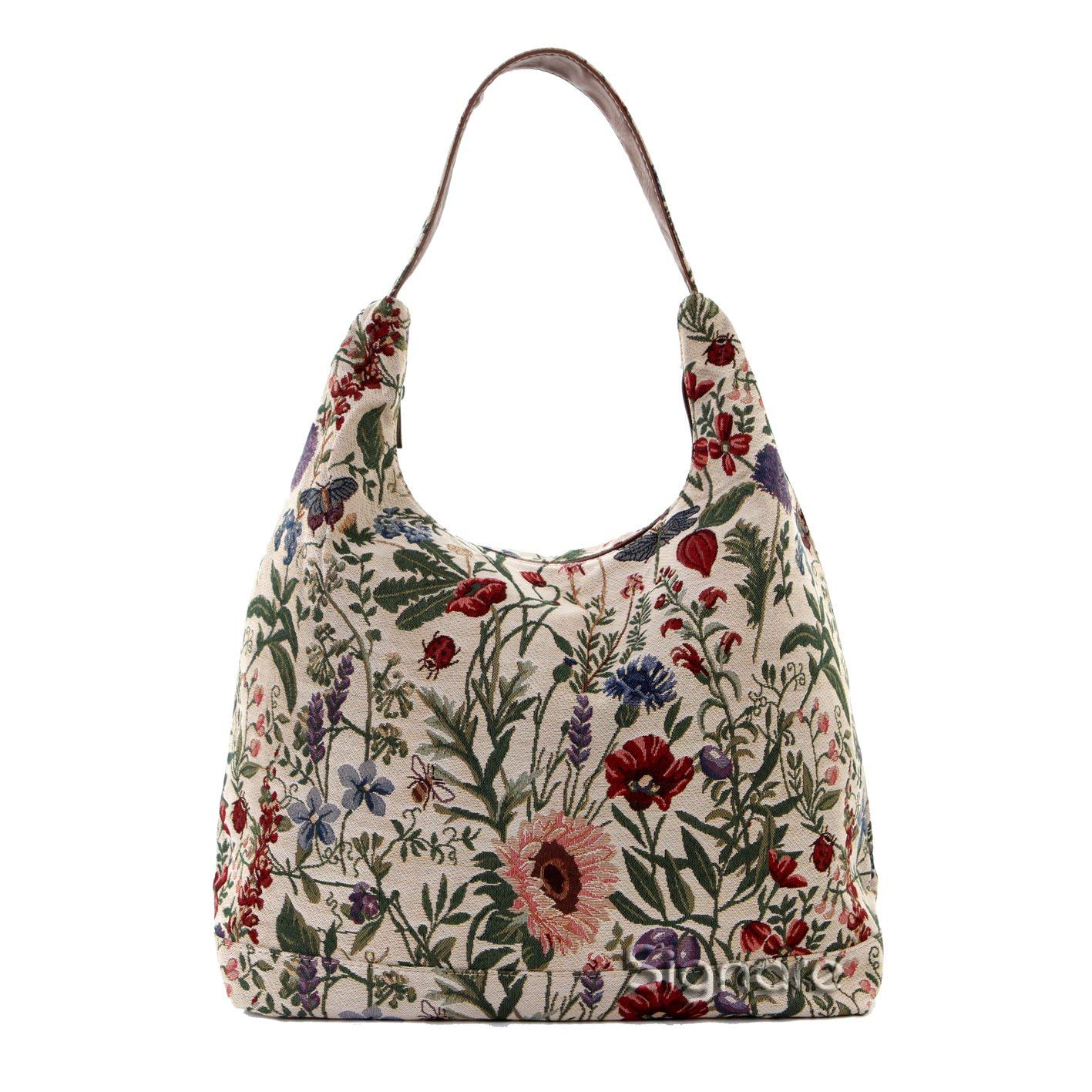 84f72d6954 Get Quotations · Signare Tapestry Women s Top Zip Hobo Shoulder Bag with  Sunflower Poppy Butterfly and Dragonfly (HOBO
