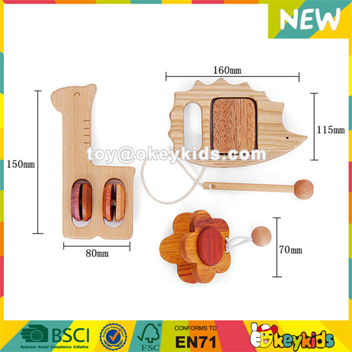Wholesale beautiful style wooden craft musical set toy contain drums and castanet W07A122