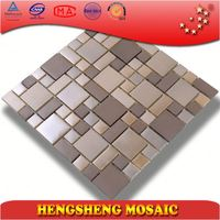 Plating surface cream colored and yellow crystal mix glass mosaic wall tile kitchen bathroom decoration tile HSD73C