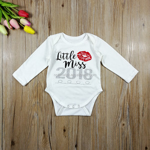 2018 New Year Baby Girls long sleeve Coton Rompers Clothes Kids white glitter baby Romper