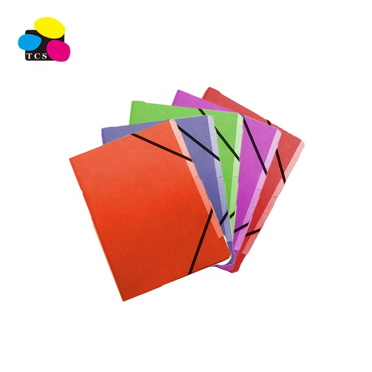 Pressboard 3 parts organiser file folder with elastic bandA