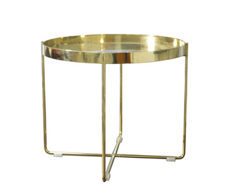Powder Coating Gold Color Round End Side Table High Quality Metal Iron Legs