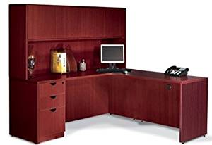 "Offices To Go L Shaped Desk W/Hutch Overall Office Desk Dimensions: 71"" X 72"" (65""H) Desk 71""W X 36""D, Return 36""D X 24""W - American Mahogany - Right Corner (as shown)"