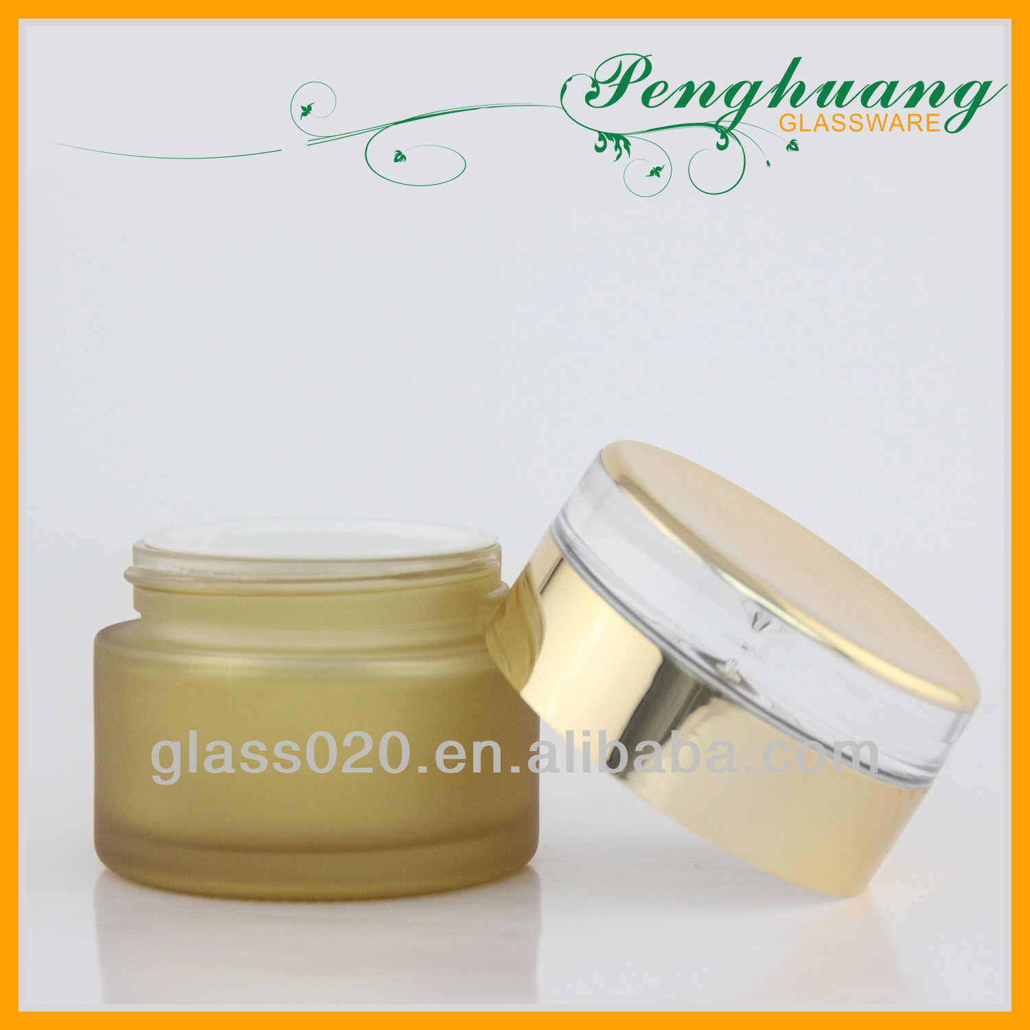 30g gray glass cosmetic cream jar with acrylic cap and hand pand