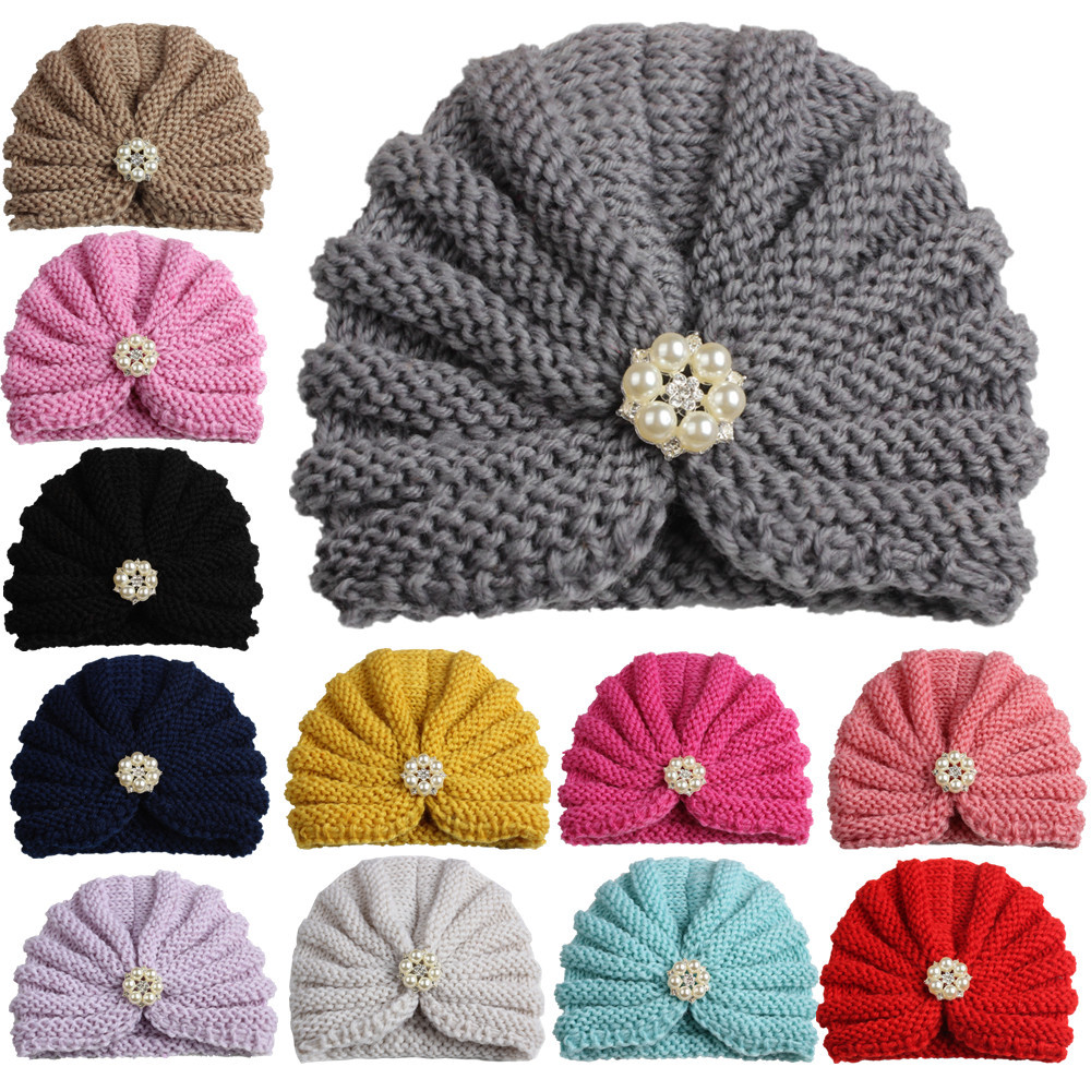 Baby Knitting Hat Accessories Girl india Crochet Cap with Pearl Toddler Infants turban hat