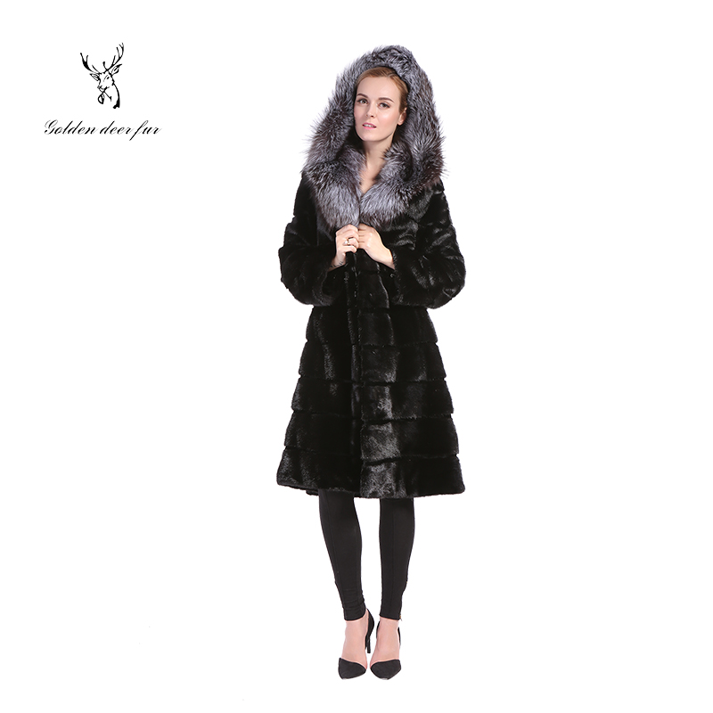 Luxury genuine ladies mink fur coat