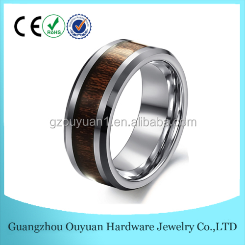 8mm Fashion jewelry tungsten ring blank with real wood inlay