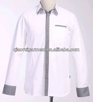 High quality 100%Cotton casual long sleeve two tone shirt for men plus size contrasting collar