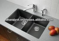 Black Granite Double Counter Hand Wash Sink