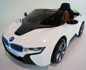 New 2015 Licensed BMW I8 Concept Kids Ride on Power Wheels Battery Remote Control, Leather Seat Toy Car-white