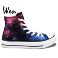 Wen Original Hand Painted Shoes Design Custom Wine Red Galaxy Starlight Men Women s High Top