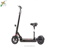 New 2 big wheel electric double seat mobility kick scooter with free folding handle