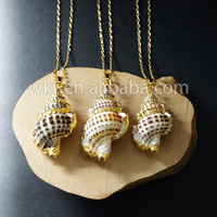 WT-JN011 Wholesale gold plated snail shell necklace, fashion sea shell necklace