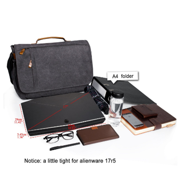 Osgoodway High Quality Wholesale 17 inch Men Business Work Briefcase Canvas Laptop Shoulder Bag for Work Travel