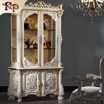 French Country Living Room Furniture Hand Carved Wine Cabinet