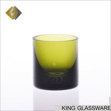 Custom wholesale handmade solid green color thick glass candle holder jar