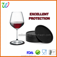 New 2017 silicone wine glass pads drink coaster black