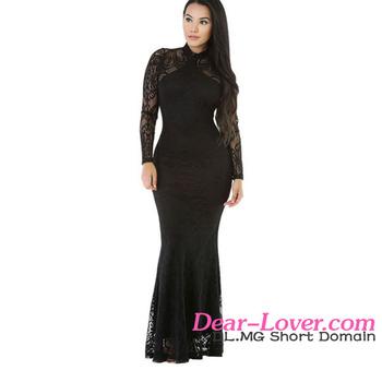 Sexy Women Black Knit Flora Mermaid Doll Long Sleeve Muslim Evening