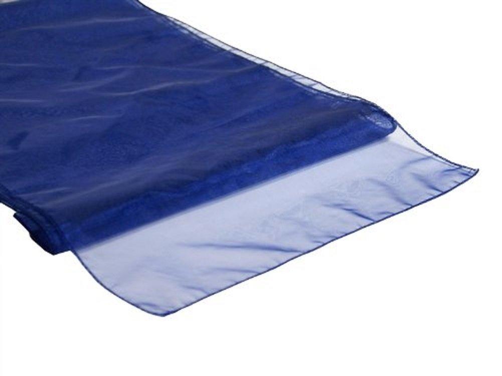 "Miraise 10Pcs 12"" x 108"" / 30 x 275CM Sheer Organza Roll Fabric Wedding Party Banquet Event Decor Chair Bows Table Runner Sash Decoration (Navy Blue)"