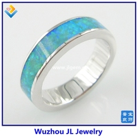 Blue Pave Opal inlay 925 Sterling Silver Fashion Rings Fancy And Fshion Jewelry