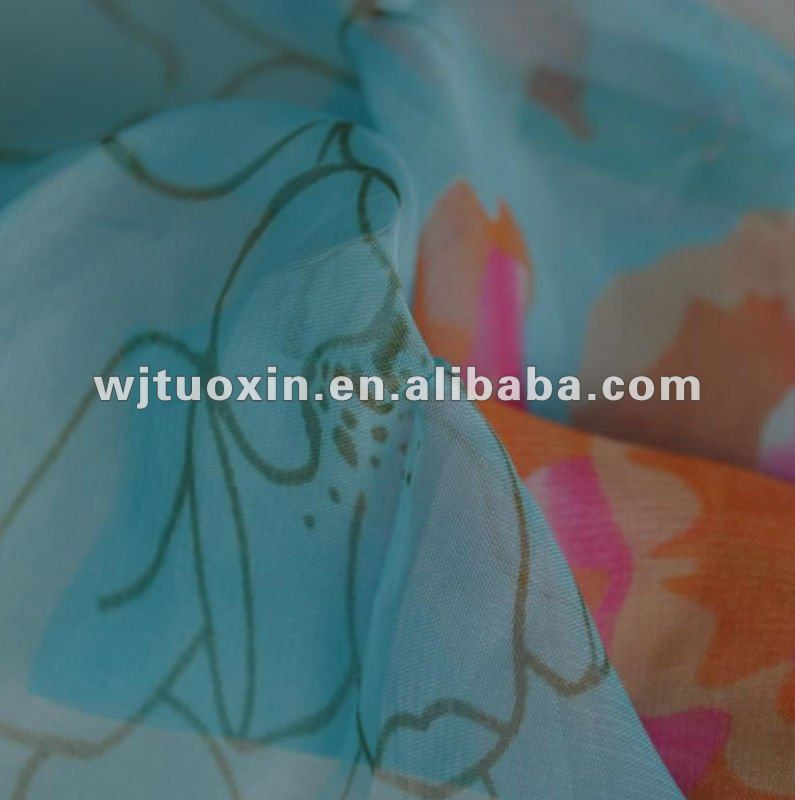 100D ink printing polyester chiffon fabric/Chinese paintings print chiffon /wedding fabric