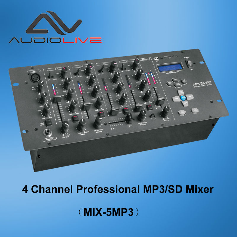 Built in USB/SD MIX-5 MP3 5 channel professional DJ mixer
