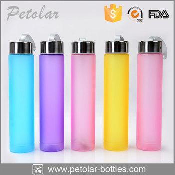 Slim Water Bottle promotional custom colors slim tall thin plastic water bottles