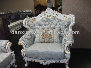 european classical white gold leaf button fabric sectional sofa DXY-833#