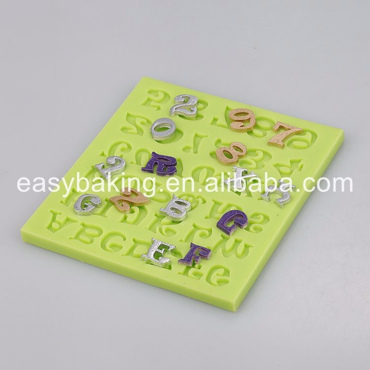 Numbers and Alphabet Fondant Silicone Molds for Cake Decoration ES-3001
