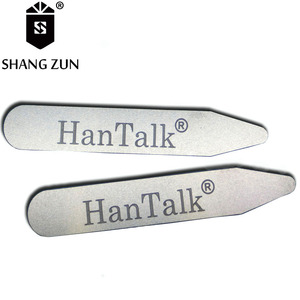 Hot sale engraved brand logo metal collar stays for mens' shirt,steel stainless silver collar stiffeners