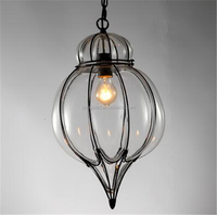 Contemporary Antique Ball Iron Glass Pendant Lamp Shade