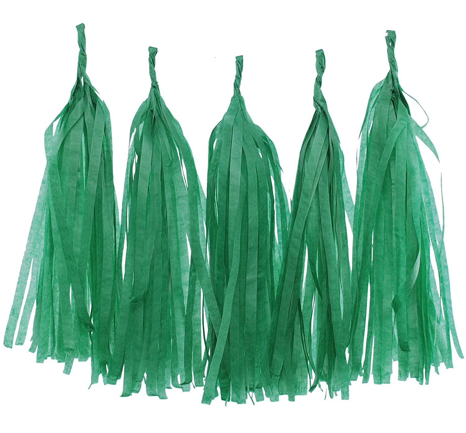 Green Garland, Tissue Paper Party Tassels (Set of 5) - Green Streamers, Tassel Banner, Kids Birthday Party Supplies, Party Backdrops