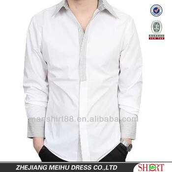 2017 Latest Design Contrast Color White Dress Shirt For Men - Buy ...