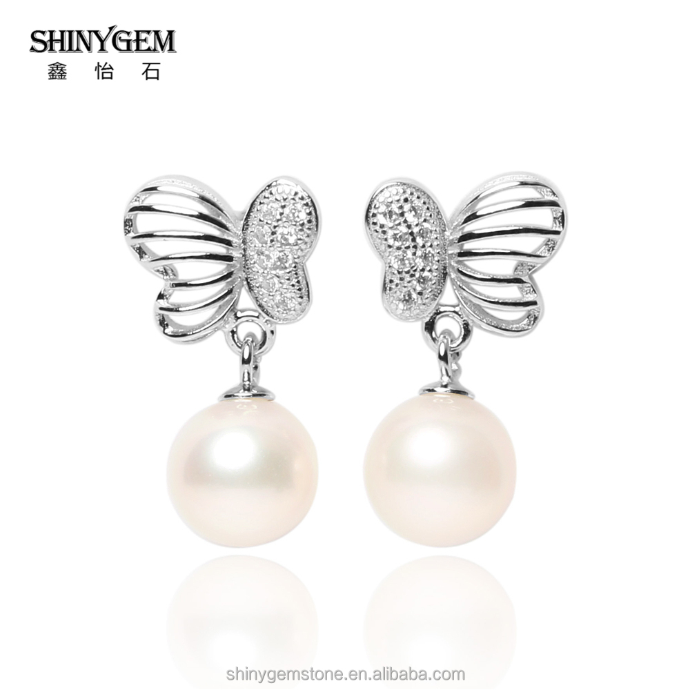 2017 New Fashion Women Freshwater Pearl Drop Earrings 925 Sterling Silver Jewelry Micro CZ Pave Jewelry
