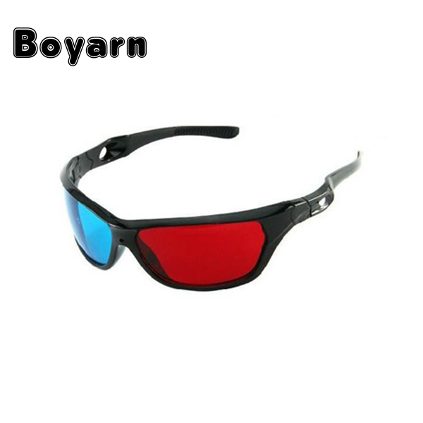 BOYARN new Black Frame Universal 3D Plastic glasses/Oculos/Red Blue Cyan 3D glass Anaglyph 3D Movie Game DVD vision/cinema