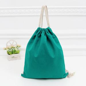 Wholesale Plain Canvas 100% Cotton String Bag Custom Printed Drawstring Bag