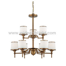 UL Listed 9 Lights Modern And Classic Project Guangdong Chandelier Light Brass Finish And With Glass Shade C80558