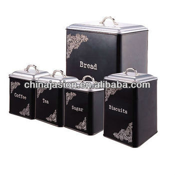 Black Large Bread Bin Tea Coffee Sugar Biscuit Jars Canister Storage Set