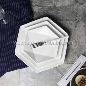 Ou deep pure white ceramic creative hexagonal plates irregular food dish restaurant hotel custom logo