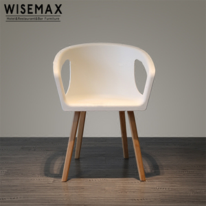 Modern dining room furniture solid wooden leg Plastic /fabric seat dining chair for coffee shop