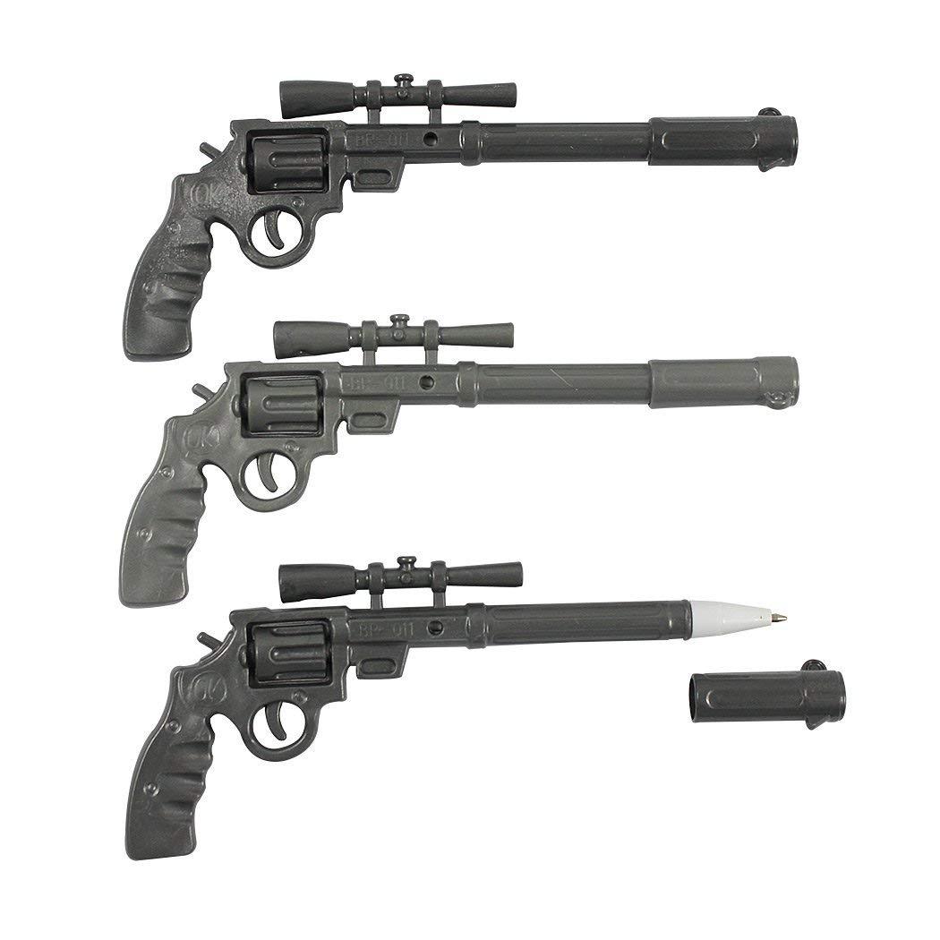 SIPLIV Black Ink Gel Ink Pen Rollerball Pens Office School Writing Supplies Stationery Accessories - Gun shape, 12 Pcs A Set