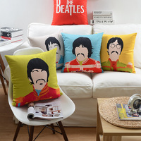 Printed Beatles velvet cushion covers office chair back support cushion covers