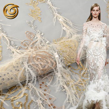 Hot sale top quality hand embroidery 3d feather lace fabric for wedding dress