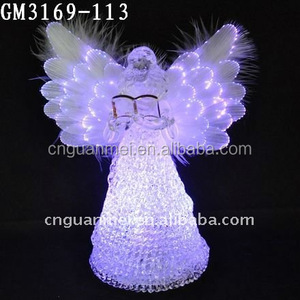 Color changing led glass angel with shiny wings