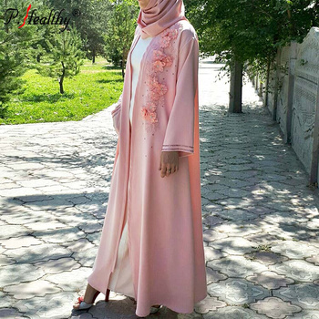 Arabic Islamic muslim woman's floral embroidered solid color front open polyester abaya jilbab with belt and rhinestones pocket