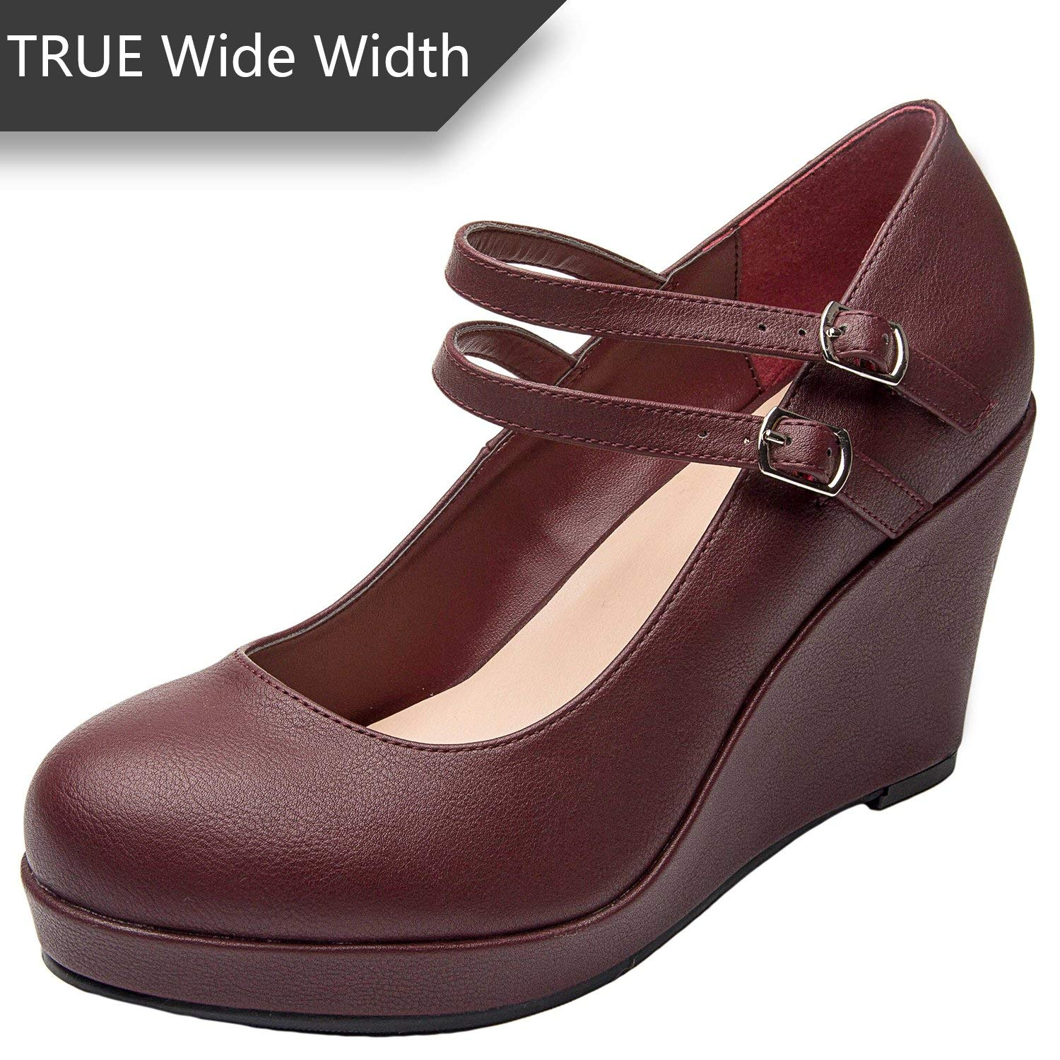 aafc9d8cb79 Get Quotations · Luoika Women s Wide Width Wedge Shoes - Mary Jane Ankle  Buckle Double Strap Round Closed Toe