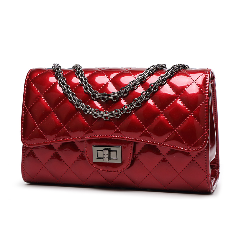 Designs glossy red pu leather ladies handbag ready goods for wholesale china