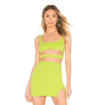 2019 New Design Women's Sexy Green Short Vest Ladies' Front Cut-out Tight Crop Tops