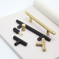 Modern brass T Bar Knurled cabinet handle furniture bedroom kitchen hardware knobs and pullers