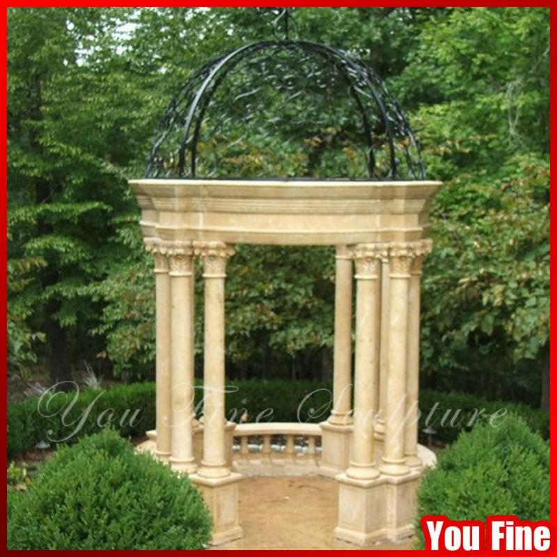 Nice Beige Round Natural Stone Garden Column Outdoor Gazebo With Metal Roof